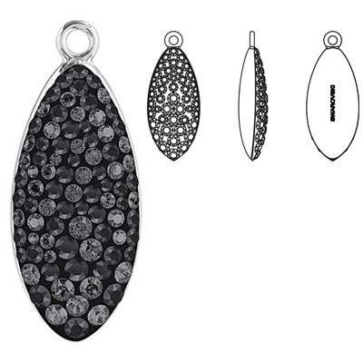 Crystal Swarovski 67492, Pave Petal Pendant. Crystal Silver Night coating. Rhodium plated. 30mm size