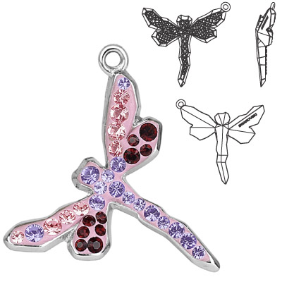 Crystal Swarovski 67523, Pave Dragonfly Pendant. Tanzanite, Ligth Rose, Siam. Rhodium plated. 18mm size