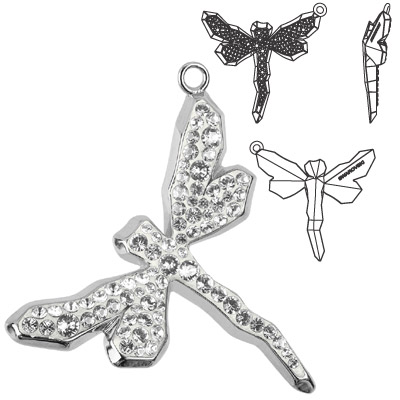 Crystal Swarovski 67523, Pave Dragonfly Pendant. Crystal color. Rhodium plated. 30mm size