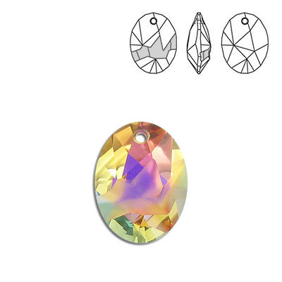 Crystal Swarovski 6911, Kaputt Oval Pendant. Crystal Sunset coating. 26mm size