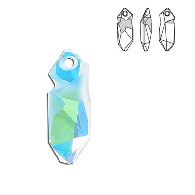 Crystal Swarovski 6913, Kaputt Pendant. Blue AB Crystal coating. 28mm size