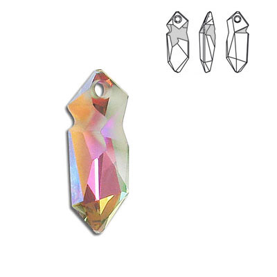 Crystal Swarovski 6913, Kaputt Pendant. Crystal Sunset coating. 28mm size