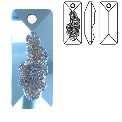 Crystal Swarovski 6925, Growing Crystal Rectangle Pendant. Malibu coating. 36mm size