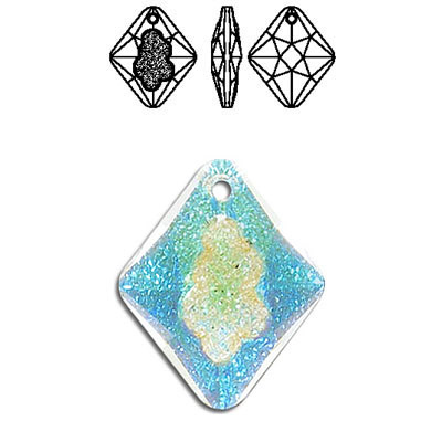 Crystal Swarovski 6926, Growing Crystal Rhombus Pendant. Blue AB Crystal coating. 26mm size