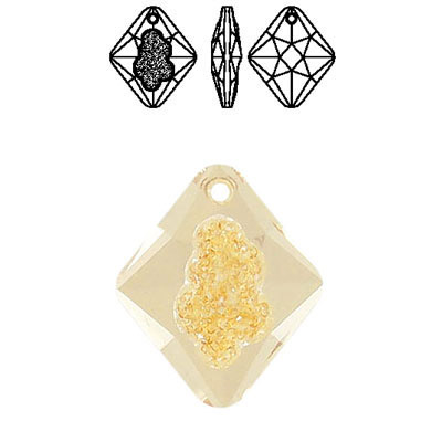 Crystal Swarovski 6926, Growing Crystal Rhombus Pendant. Crystal Golden Shadow coating. 26mm size