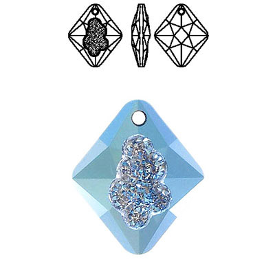 Crystal Swarovski 6926, Growing Crystal Rhombus Pendant. Malibu coating. 26mm size