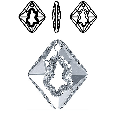 Crystal Swarovski 6926, Growing Crystal Rhombus Pendant. Crystal color. 36mm size