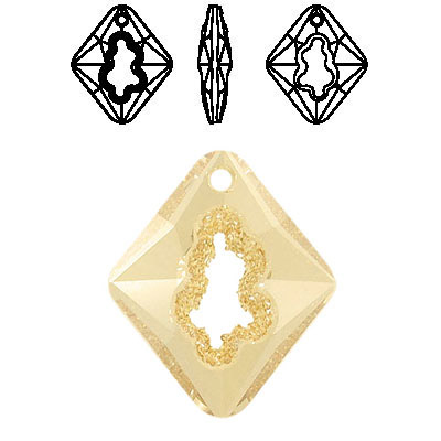 Crystal Swarovski 6926, Growing Crystal Rhombus Pendant. Crystal Golden Shadow coating. 36mm size