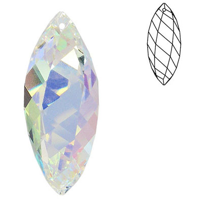 Crystal Swarovski 8011/50x18, Twisted Faceted Drop Pendant-Chandelier. AB Crystal coating.  size.