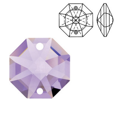 Crystal Swarovski 8116, Octagon Lily Pendant-Chandelier (two holes). Violet color. 14mm size.