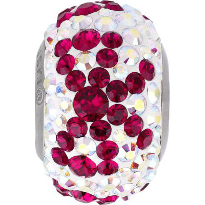 Crystal Swarovski 81601, BeCharmed Pave Bow Beads. Ruby color. Stainless steel core. 14mm size