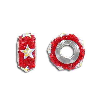 Crystal Swarovski 81702, BeCharmed Pave Slim Star Beads. Siam color. Stainless steel core. 13mm size