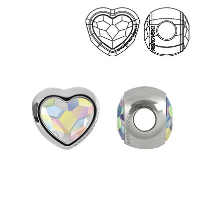 Crystal Swarovski 81951, BeCharmed Heart Beads. AB Crystal coating. Stainless steel core. 14mm size