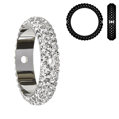 Crystal Swarovski 85001, BeCharmed Pave Thread Rings Beads. Crystal color. Stainless steel core. Two holes. 14mm inside