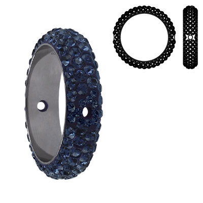 Crystal Swarovski 85001, BeCharmed Pave Thread Rings Beads. Black Diamond color. Stainless steel core. Two holes. 14mm i