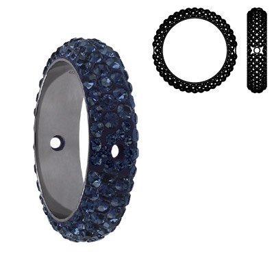 Crystal Swarovski 85001, BeCharmed Pave Thread Rings Beads. Montana color. Stainless steel core. Two holes. 14mm inside