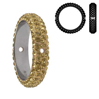 Crystal Swarovski 85001, BeCharmed Pave Thread Rings Beads. Crystal Golden Shadow coating. Stainless steel core. Two hol