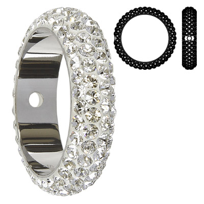 Crystal Swarovski 85001, BeCharmed Pave Thread Rings Beads. Crystal color. Stainless steel core. One hole. 18mm inside d