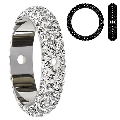 Crystal Swarovski 85001, BeCharmed Pave Thread Rings Beads. Crystal color. Stainless steel core. Two holes. 18mm inside
