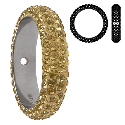 Crystal Swarovski 85001, BeCharmed Pave Thread Rings Beads. Crystal Golden Shadow coating. Stainless steel core. One hol