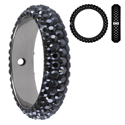 Crystal Swarovski 85001, BeCharmed Pave Thread Rings Beads. Jet Hematite coating. Stainless steel core. One hole. 18mm i