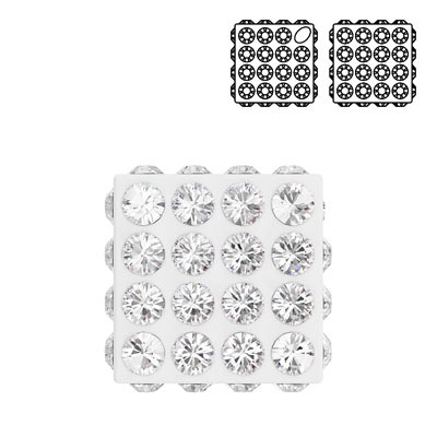 Crystal Swarovski 86401, Diagonal Pave Cube Bead. Crystal color. 8mm size