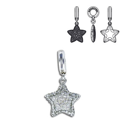 Crystal Swarovski 86512, Pave Star Charm. Crystal Silver Shade coating. Rhodium plated. 14mm size