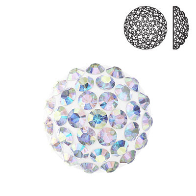 Crystal Swarovski 86601, Cabochon Pave. AB Crystal coating. 10mm