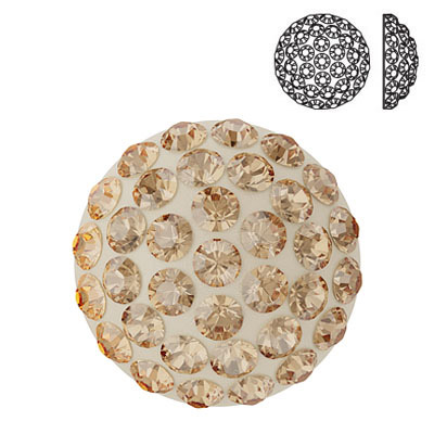 Crystal Swarovski 86601, Cabochon Pave. Crystal Golden Shadow coating. 12mm