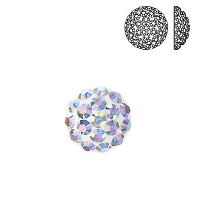 Crystal Swarovski 86601, Cabochon Pave. AB Crystal coating. 6mm