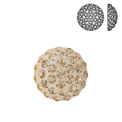 Crystal Swarovski 86601, Cabochon Pave. Crystal Golden Shadow coating. 8mm