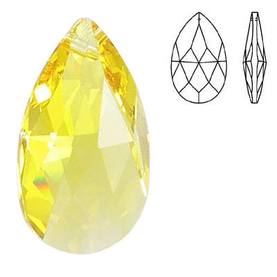 Crystal Swarovski 8721, Pear Shape Pendant-Chandelier. Light Topaz color. 28mm size.