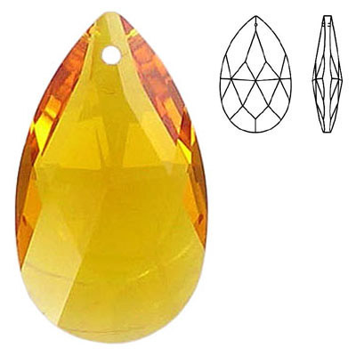 Crystal Swarovski 8721, Pear Shape Pendant-Chandelier. Topaz color. 38mm size.