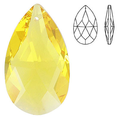 Crystal Swarovski 8721, Pear Shape Pendant-Chandelier. Light Topaz color. 38mm size.