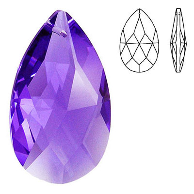 Crystal Swarovski 8721, Pear Shape Pendant-Chandelier. Blue Violet color. 38mm size.