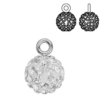 Swarovski crystal pave pendant charm 90101, Blazing Ball, 9mm, crystal, rhodium plate