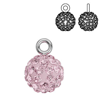 Swarovski crystal pave pendant charm 90101, Blazing Ball, 9mm, light rose, rhodium plate