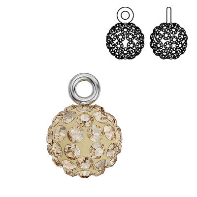 Swarovski crystal pave pendant charm 90101, Blazing Ball, 9mm, crystal golden shaddow, rhodium plate