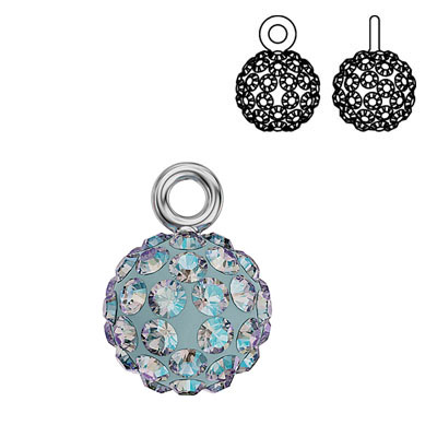 Swarovski crystal pave pendant charm 90101, Blazing Ball, 9mm, light sapphire shimmer, rhodium plate
