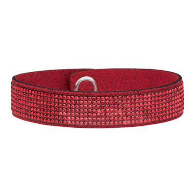 Swarovski chic glamour bracelet, ultra suede, light siam, red, 7 inch