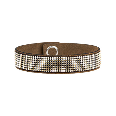 Swarovski chic glamour bracelet, ultra suede, crystal golden shadow, brown, 7 inch
