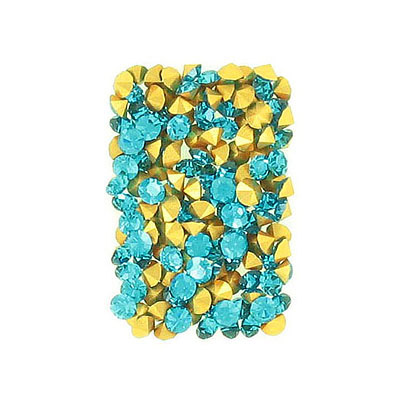 Czech machine cut chaton, pp24 size, blue zircon