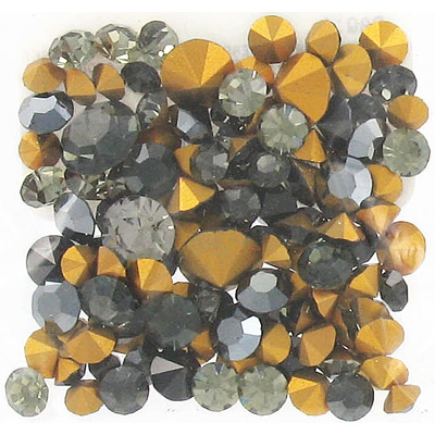Crystal Swarovski chaton rose, grey color mix, 10g