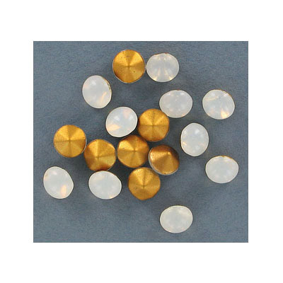 Chaton rose, ss40 size, smooth cut, white opal
