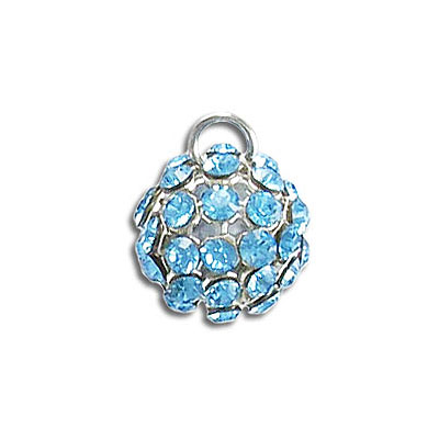 Swarovski 40512 crystal mesh balls, 1 loop, aqua rhinestone mesh on crystal light blue pearl, casing color silver