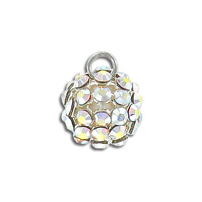 Swarovski 40512 crystal mesh balls, 1 loop, ab crystal rhinestone mesh on crystal white pearl, casing color silver