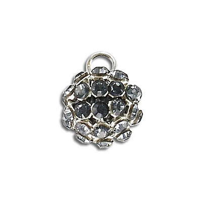 Swarovski 40512 crystal mesh balls, 1 loop, crystal silver night rhinestone mesh on crystal dark grey pearl