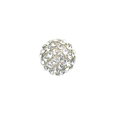 Swarovski 40515 crystal mesh balls, crystal clear rhinestone mesh on crystal white pearl, casing color silver