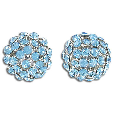Swarovski 40515 crystal mesh balls, aqua rhinestone mesh on light blue pearl, casing color silver