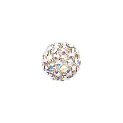 Swarovski 40515 crystal mesh balls, crystal aurore boreale rhinestone mesh on crystal white pearl, casing color silver